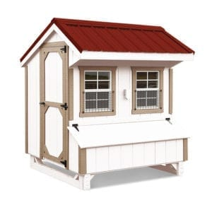 lovely lancaster red roof on white chicken coop with golden trim